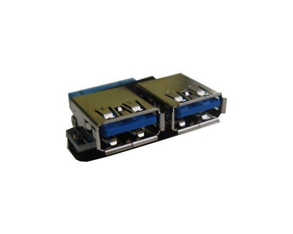 Переходник с материнской платы 20PIN-2 порта USB3.0 с горизонтальным расположением портов.