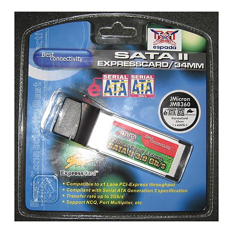 Контроллер Expresscard/34mm, 1 x eSATAII, JMicron JMB360