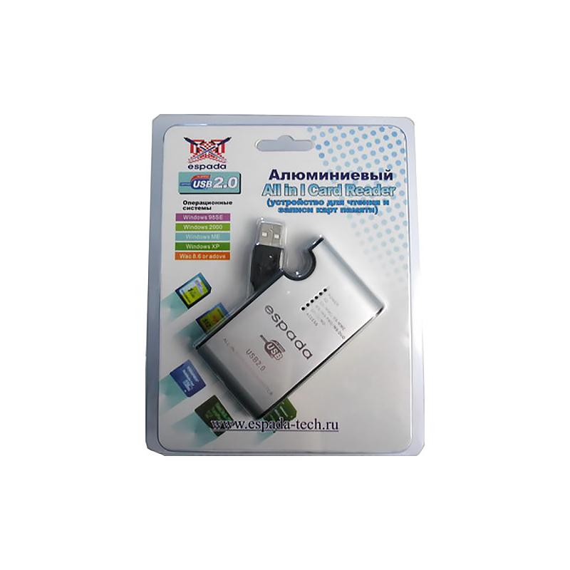 Картридер All in 1 USB 2.0 Espada, aluminum