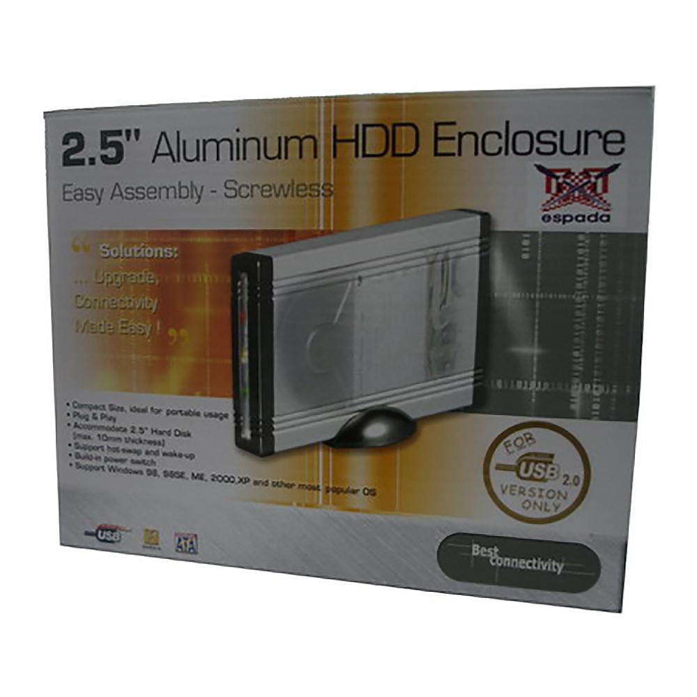 """Внешний корпус Espada for 2,5"""" HDD IDE (USB2.0) алюминиевый, крепление дисков без винтов, подключение USB 2.0"""