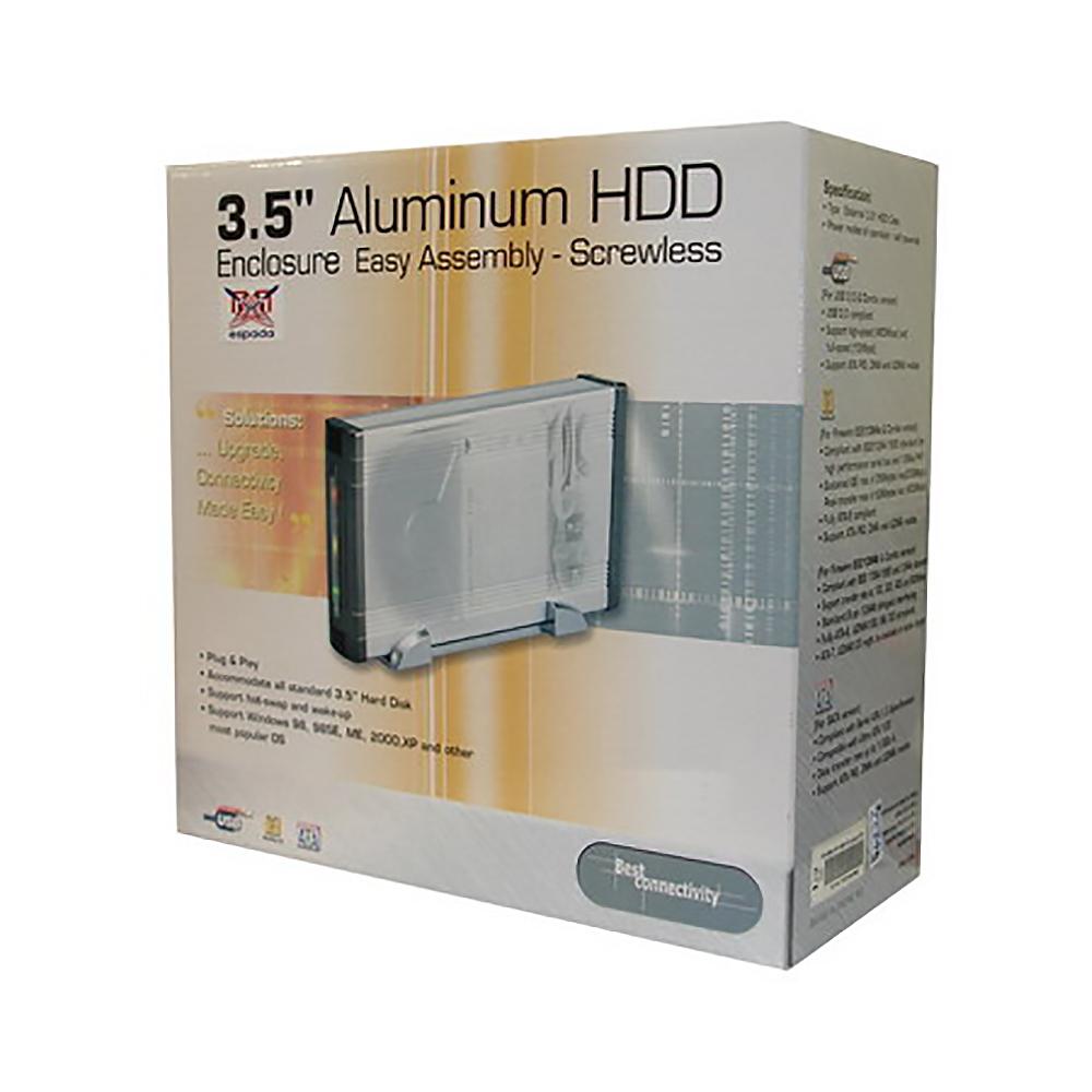 """Внешний корпус Espada for 3,5"""" HDD IDE (USB2.0) алюминиевый, встроенный вентилятор & крепление дисков без винтов, подключение USB 2.0"""