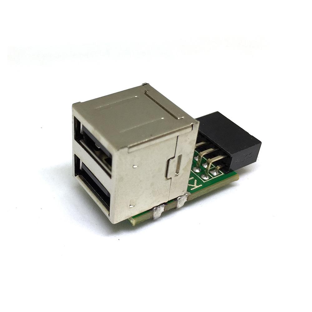 Переходник с внутреннего разъема материнской платы 10PIN / 9pin на 2 порта USB 2.0, модель: EIDC10P-USB2*20