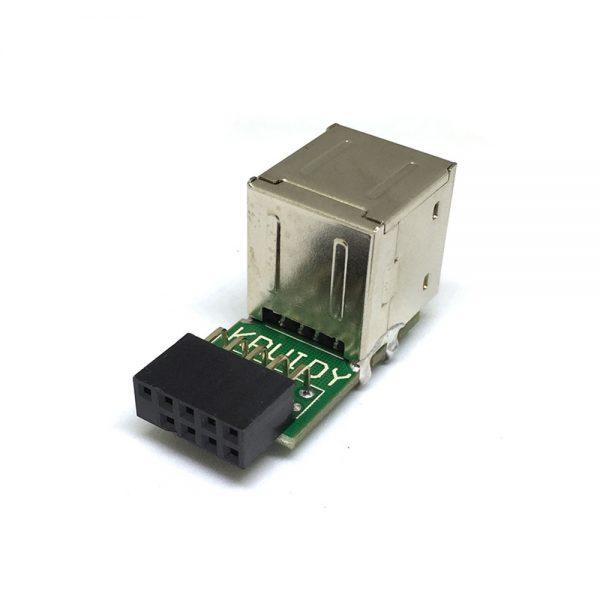 Переходник с внутреннего разъема материнской платы 10PIN / 9pin на 2 порта USB 2.0, EIDC10P-USB2*20 Espada