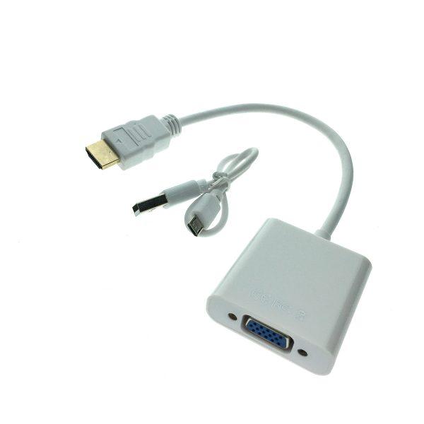 Конвертер HDMI type A male 19 pin to VGA female 15 pin со звуком 3.5mm EHDMIM-VGAF20