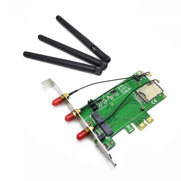 Адаптер PCI-E x1 to Mini PCI-E с SIM слотом, 3 антенны, USB модель Espada ECV02B-1