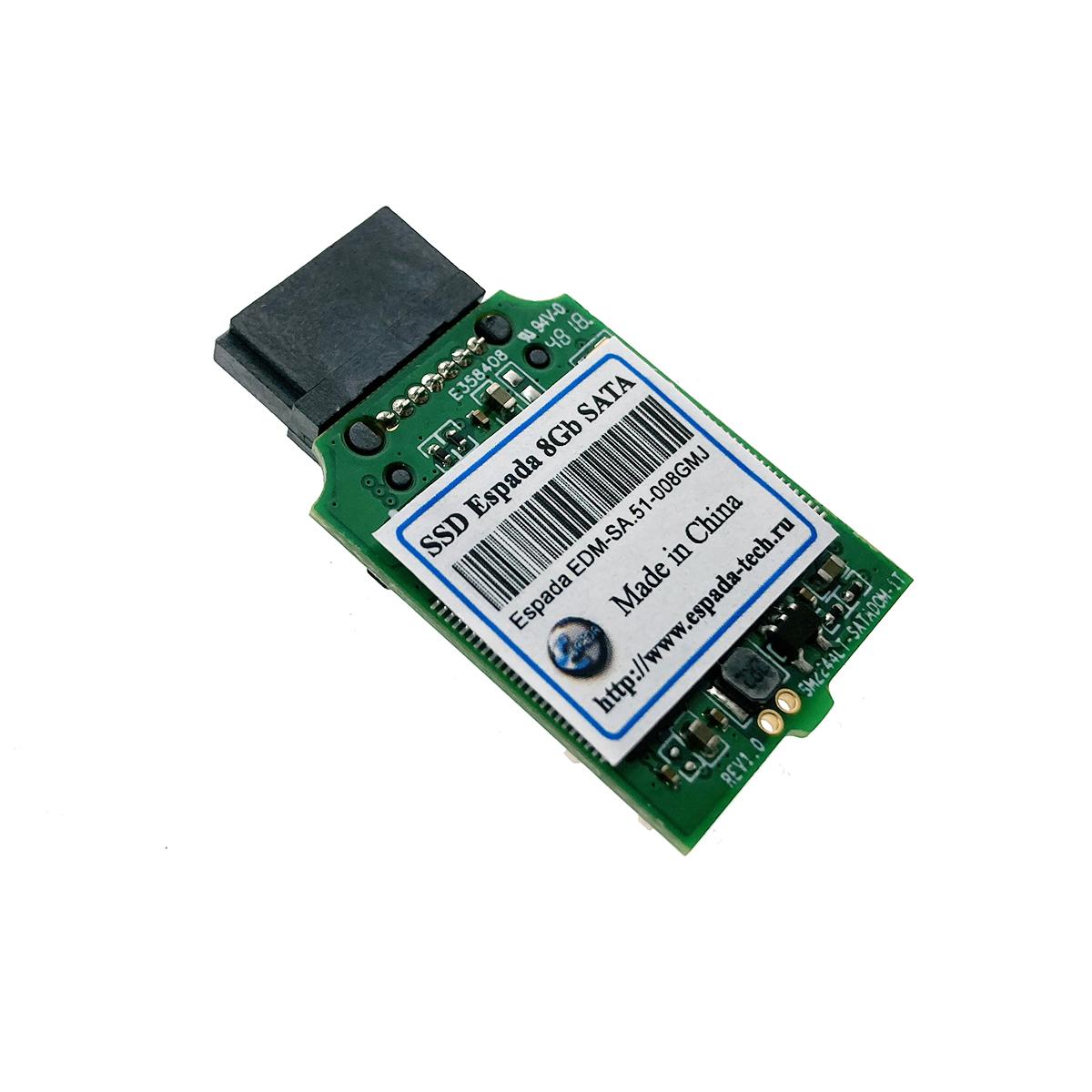 Твердотельный накопитель SSD DOM 8Gb SATA Espada, EDM-SA-51-008GMJ вертикальный с кабелем питания