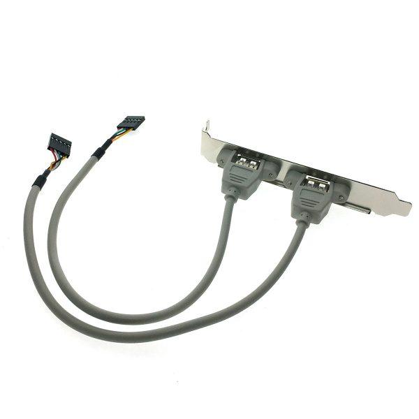 Планка портов в корпус на заднюю панель 2 порта USB 2.0, модель: EBRCT-2PrtUSB2