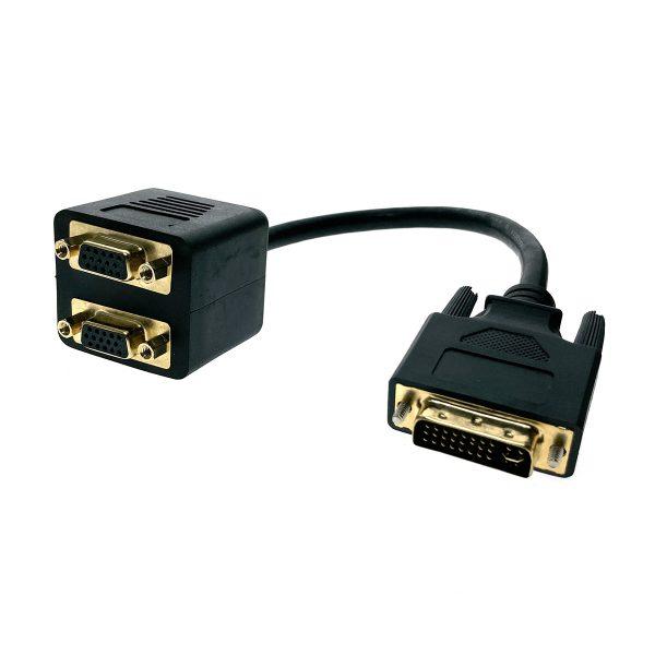 Разветвитель DVI-I 29 pin male to 2 VGA /D-Sub/ 15 pin female 25cм, Espada EDVIM2xVGAF25
