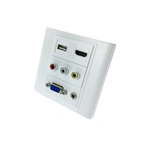 Настенная панель - переходник /встраиваемая розетка/ RCA, USB, VGA, HDMI, 3.5mm audio jack Espada EWPRCAUSBVGA3.5