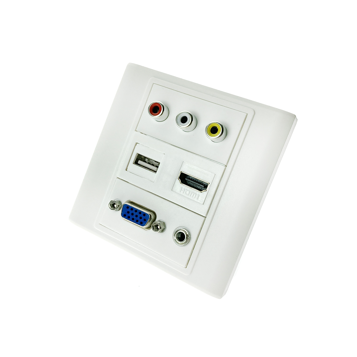 Настенная панель - переходник RCA+USB+VGA+3.5мм, Espada EWPRCAUSBVGA3.5 для скрытой проводки