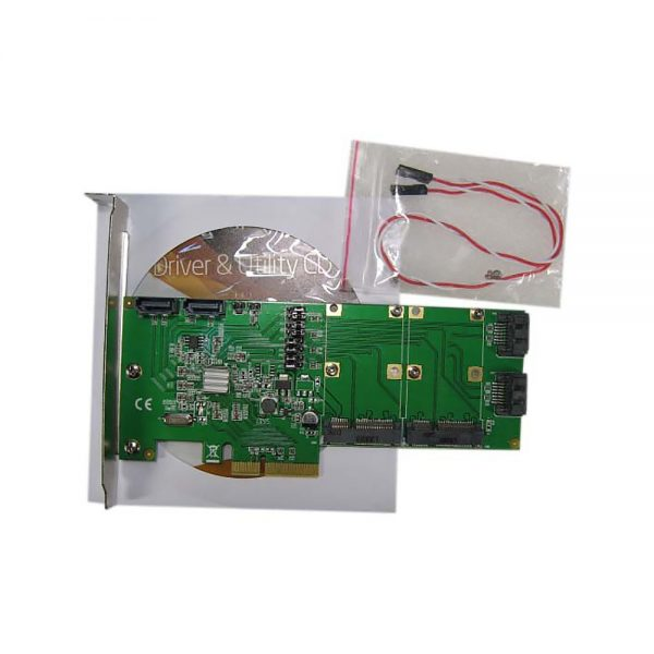 40056-3 Контроллер PCI-E 2.0 to 4 port SATA3 + 2 порта mSATA чип Marvell 88SE9230, FG-EST14A-1-BU01, Espada