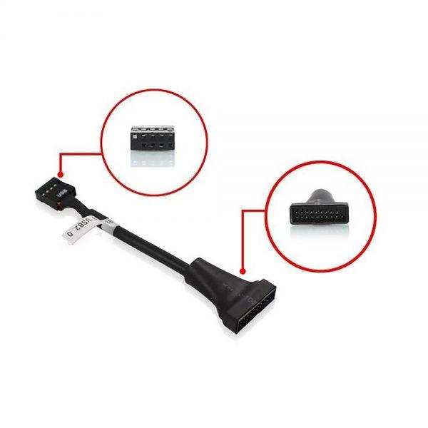 Переходник для материнской платы USB 2.0 IDC 10pin/9pin female to USB 3.0 20pin/19pin male 15см, EPOW10pin20pin