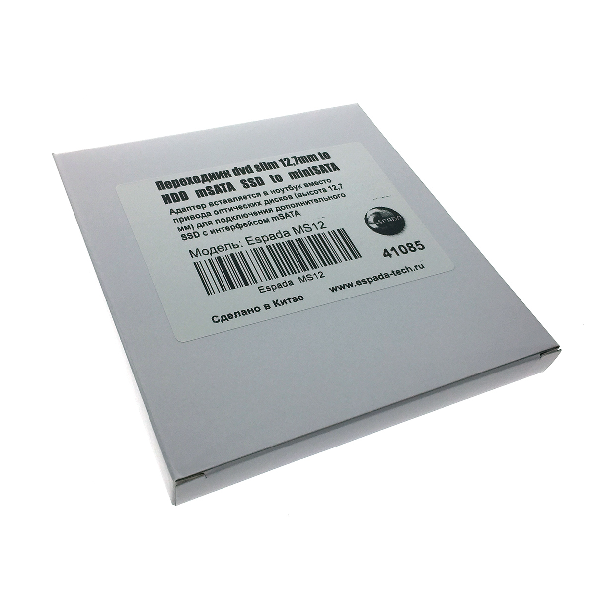Адаптер оптибей Espada MS12 mSATA SSD to miniSATA 12,7мм для подключения SSD к ноутбуку вместо DVD