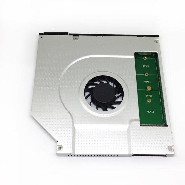 Адаптер оптибей (optibay) Espada SNC-9, NGFF(M.2)/miniSATA для подключения SSD к ноутбуку со встроенным вентилятором (кулером)