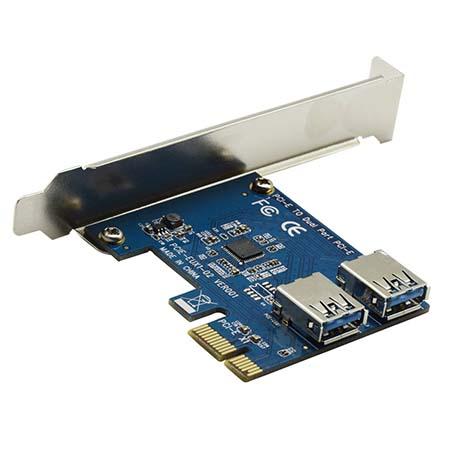 Адаптер для подключения 2-х внешних райзер карт в слот PCI -e х1 по протоколу USB 3.0 (DUAL Riser Card /ризер карта) mining / майнинг