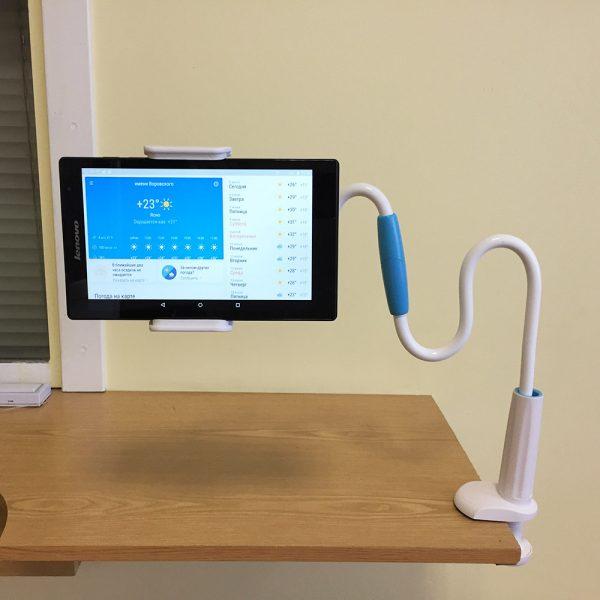 Держатель гибкий универсальный для телефона, смартфона и планшета белый Espada Ehol1mwh 1