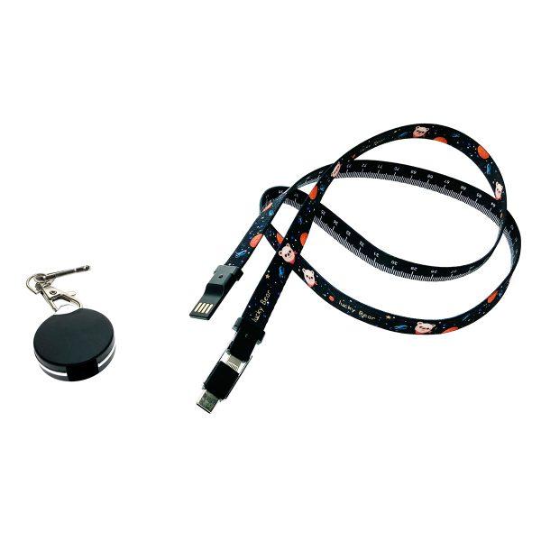Универсальный кабель - переходник 3в1, Type-C + micro USB + iphone Lightning 8pin, Elyard3i1 черный, ремешок на шею