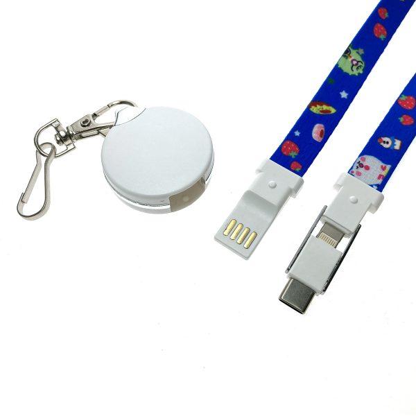 Универсальный кабель - переходник 3в1, Type-C + micro USB + iphone Lightning 8pin, Elyard3i1 синий, ремешок на шею