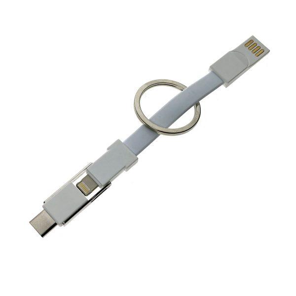 Универсальный брелок-переходник 3в1 USB 2.0 to Type C + micro USB + iphone Lightning 8pin, белый, Emagn3i1 Espada