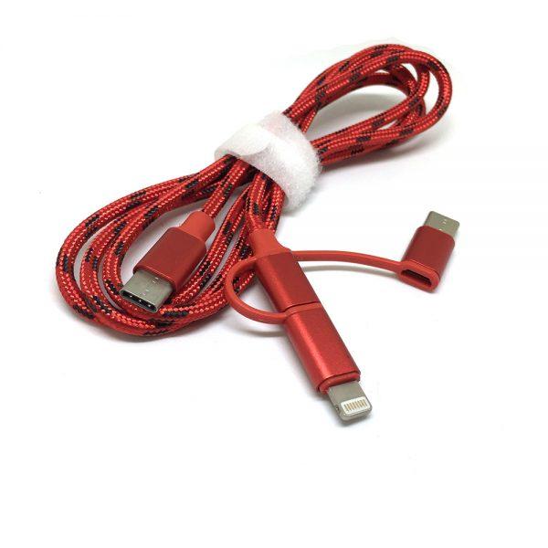 Универсальный кабель - переходник 3 в 1м!!! USB type C 3.1 to Lightning + microUSB + USB type C 3.1, 1метр, нейлоновая оплетка EtyC3i1r