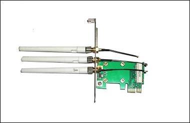Адаптер Mini PCI-E to PCI-E x1, 3 антенны