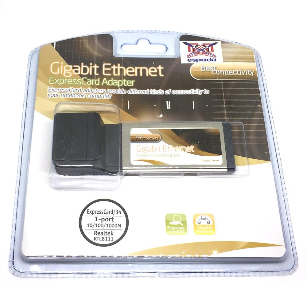 Контроллер ExpressCard/34mm Gigabit Ethernet Espada FG-XNW02B-1BB-CT21