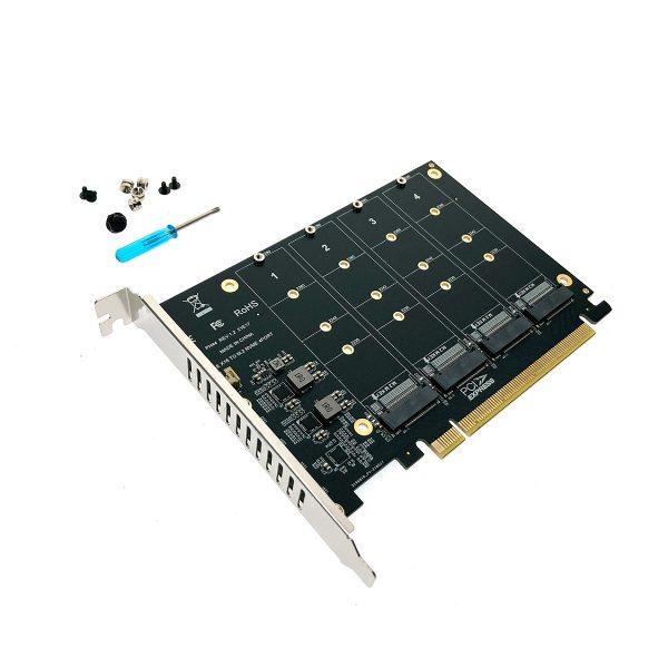 Контроллер PCI-E, 4 порта M.2 NVMe, модель PCIe4NVME, Espada