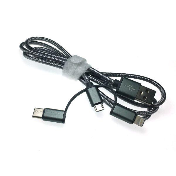 Универсальный кабель - переходник 3в1 USB 2.0 Am to Lightning + microUSB + USB type C 3.1 1м, Eusb3in1m-m-gr