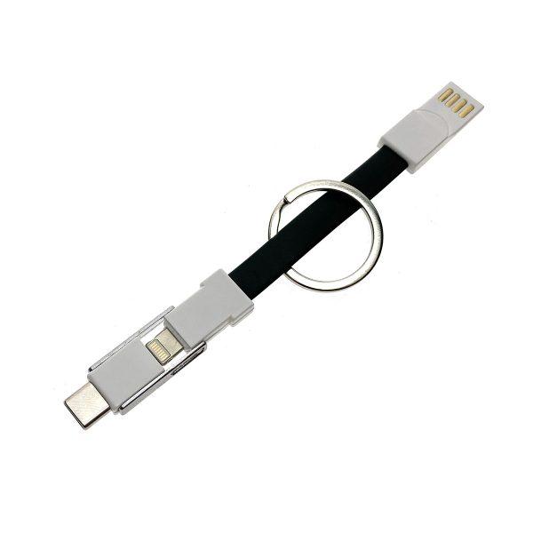 Универсальный брелок-переходник 3в1 USB 2.0 to Type C + micro USB + iphone Lightning 8pin, черный, Emagn3i1 Espada