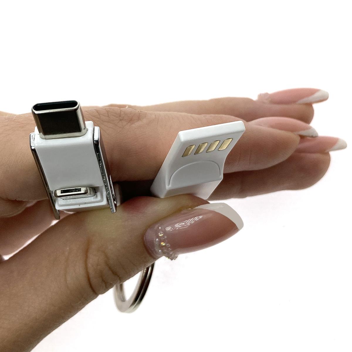 Универсальный брелок-переходник 3в1 USB 2.0 to Type C + micro USB + iphone Lightning 8pin, голубой, Emagn3i1 Espada