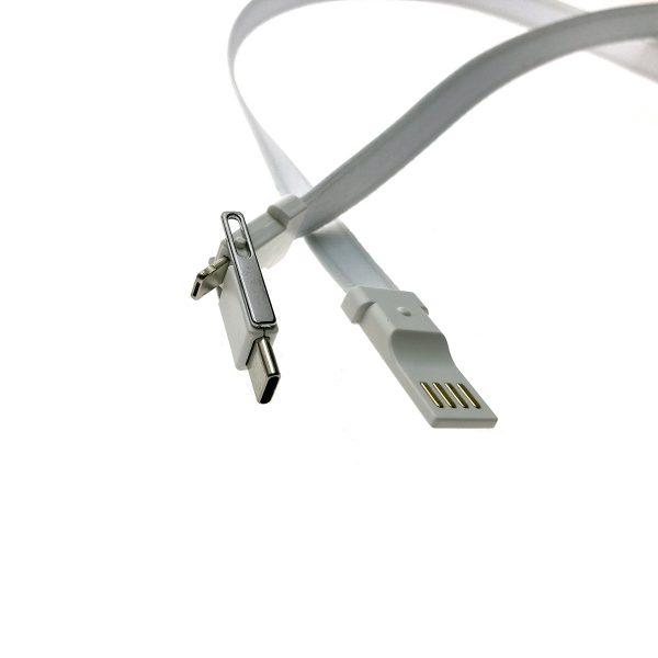 Универсальный кабель - переходник 3в1 Espada Elyard3i1 белый Type C + micro USB + iphone Lightning 8pin