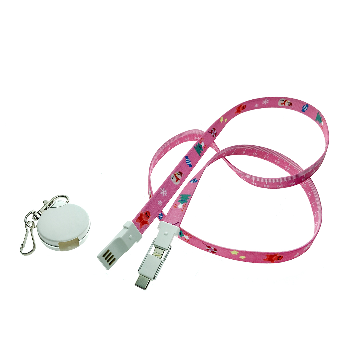Универсальный кабель - переходник 3в1, Type-C + micro USB + iphone Lightning 8pin, Elyard3i1 розовый, ремешок на шею