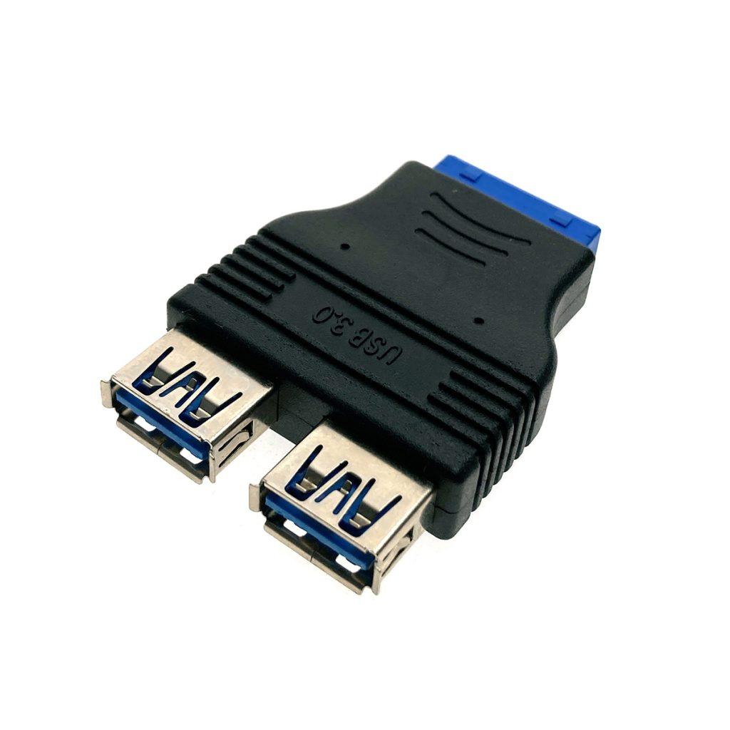 Переходник с материнской платы Ei20U32, 20 Pin Female на 2 порта USB 3.0 Female, Espada
